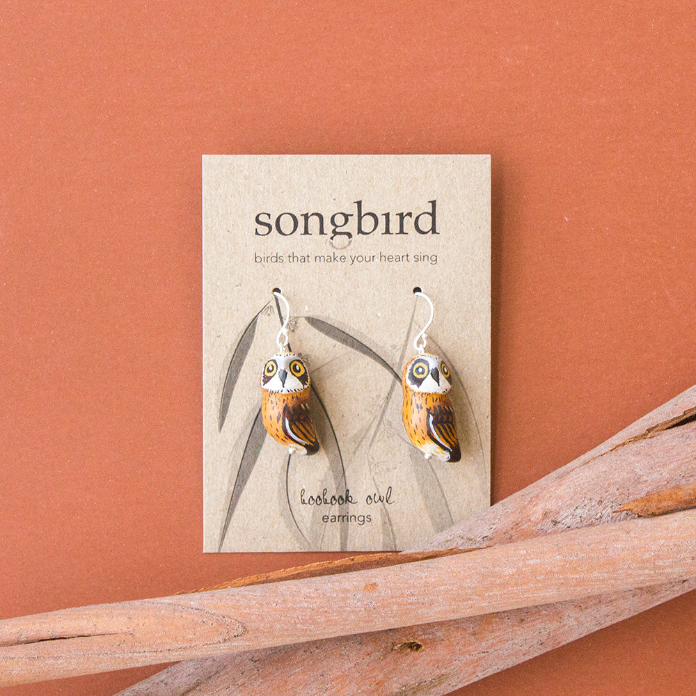 Boobook Owl Clay Earrings, Gifts & Jewellery for Birds Lovers, Songbird Collection Australia