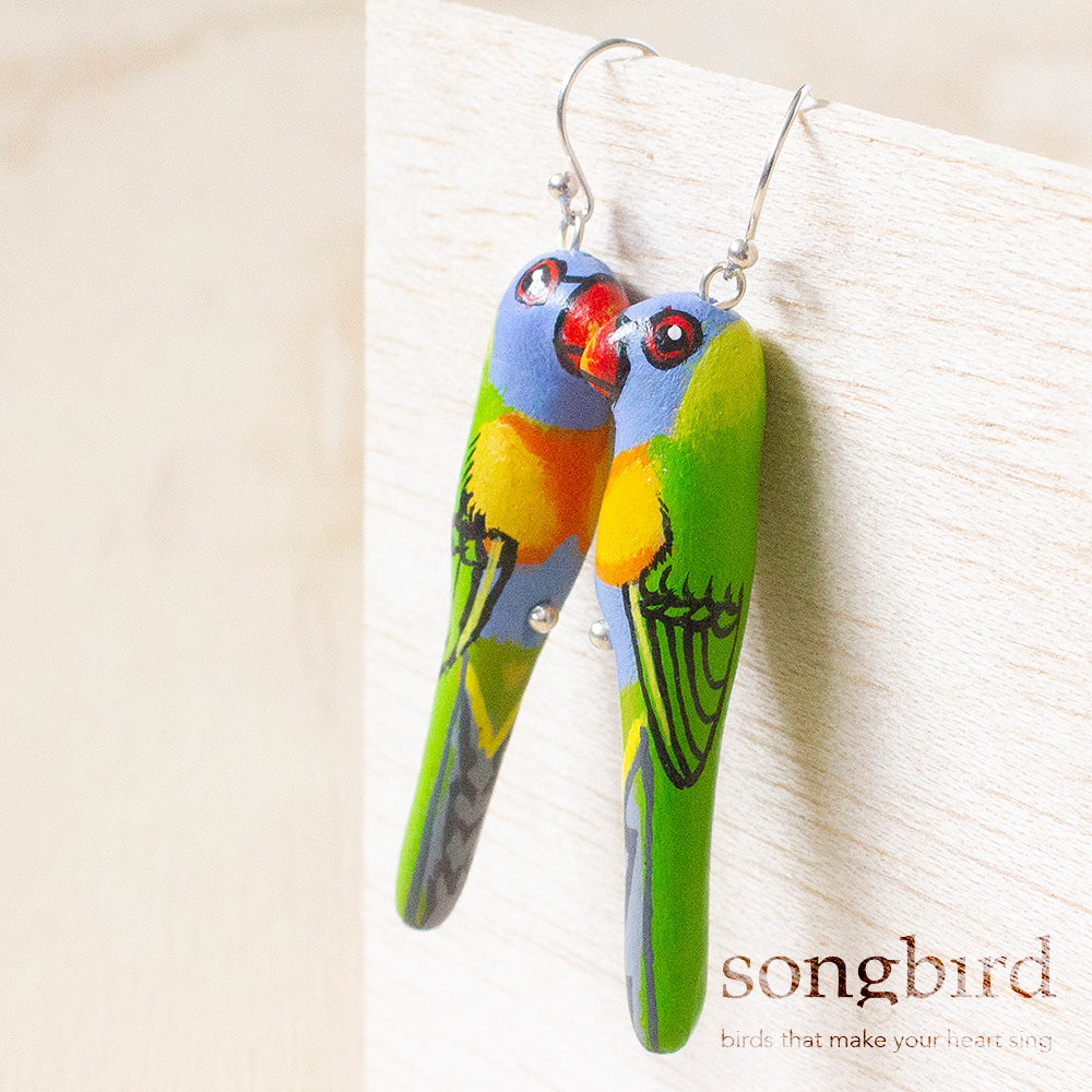 Rainbow Lorikeet Earrings, Jewellery & Gifts for Bird Lovers, Songbird Collection Australia