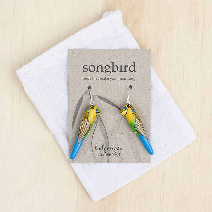Budgerigar Earrings, Songbird Australia