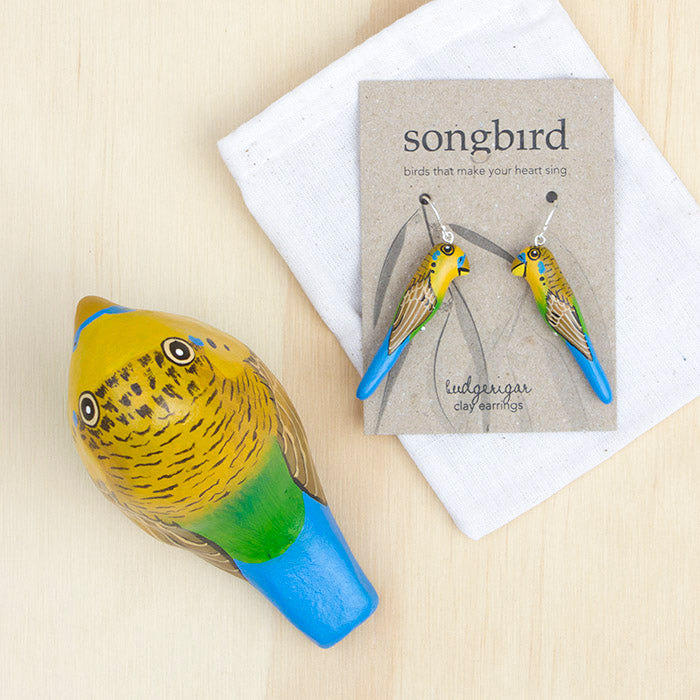 Budgerigar Paperweight Whistle & Earrings, Songbird Australia