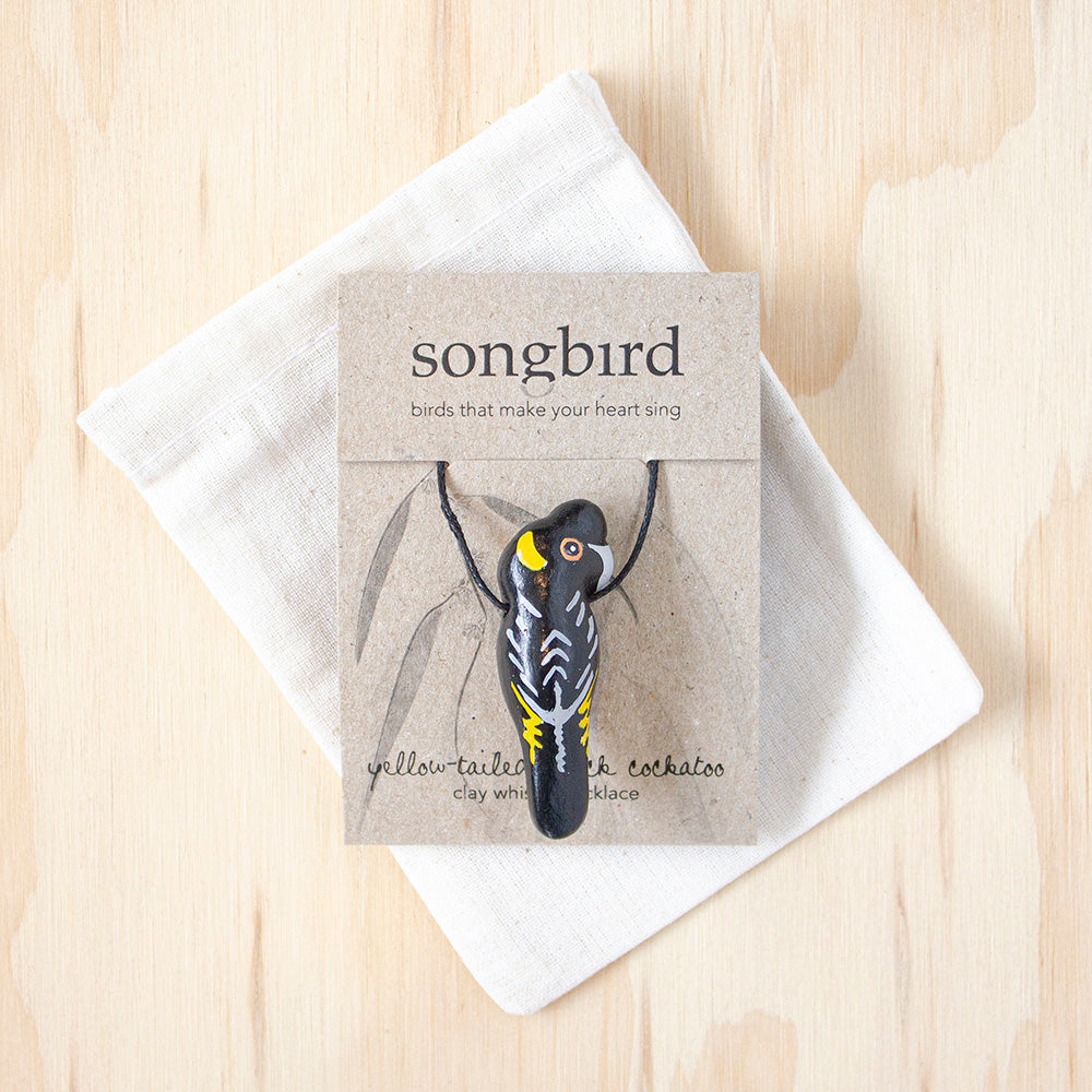 Yellow-Tailed Black Cockatoo Whistle Necklace