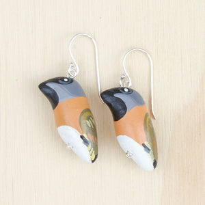 Black-Throated Finch Earrings, Handcrafted in Thailand, Designed in Australia, Songbird Collection