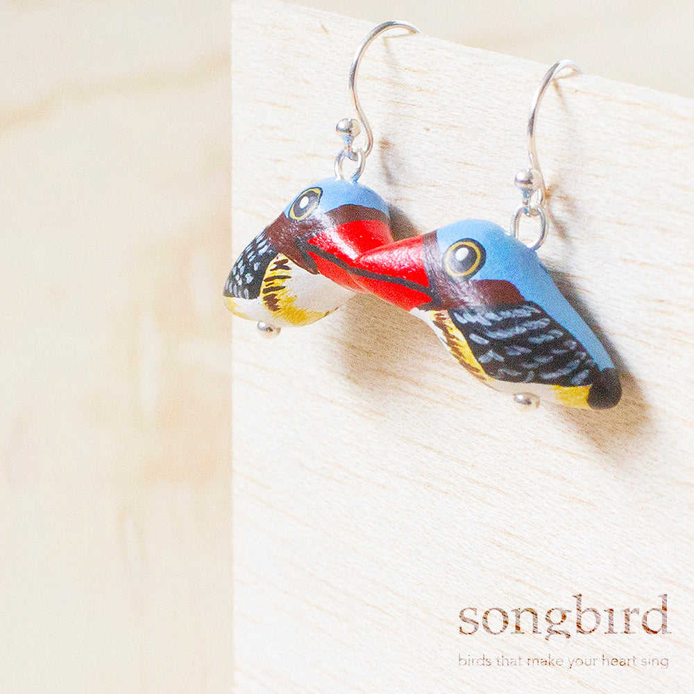 Banded Kingfisher Earrings, Jewellery, Gifts & Keepsakes for Bird Lovers, Songbird Collection