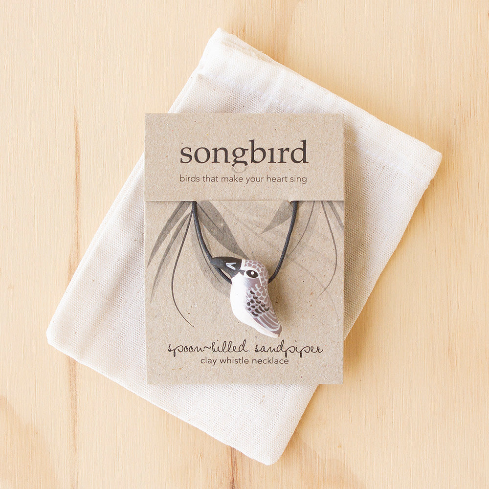 Spoon-Billed Sandpiper Whistle Necklace, Jewellery & Gifts for Bird Lovers, Songbird Collection