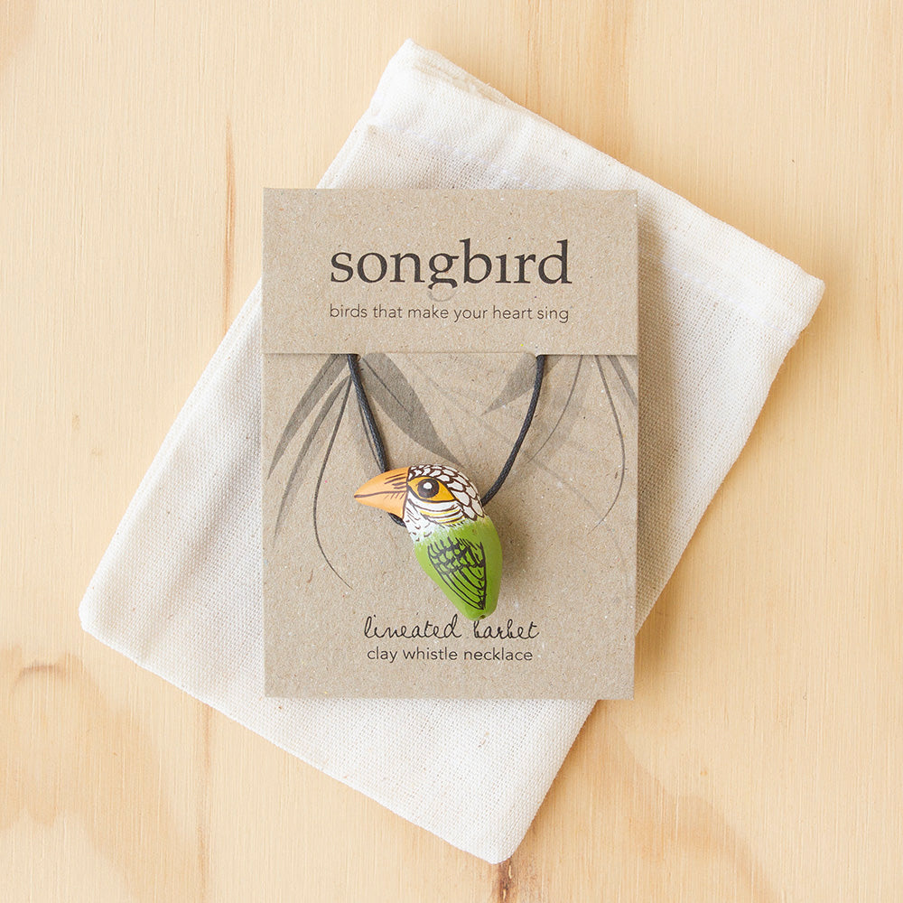 Lineated Barbet Whistle Necklace, Jewellery & Gifts for Bird Lovers, Songbird Collection