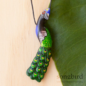 Indian Peafowl, Peacock Whistle Necklace, Jewellery & Gifts for Bird Lovers, Songbird Collection Global