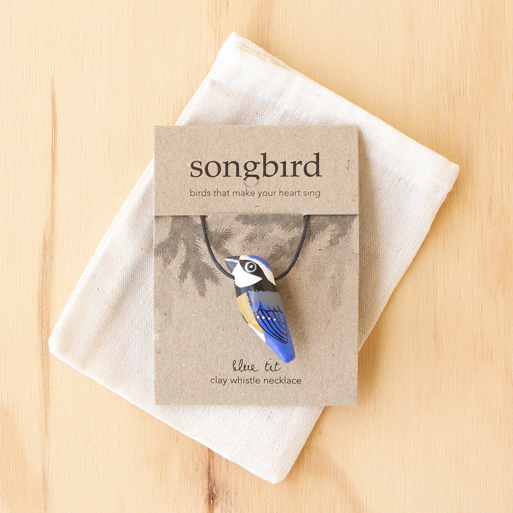 Blue Tit Whistle Necklace, Jewellery and Gifts for Bird Lovers, Songbird Collection Australia
