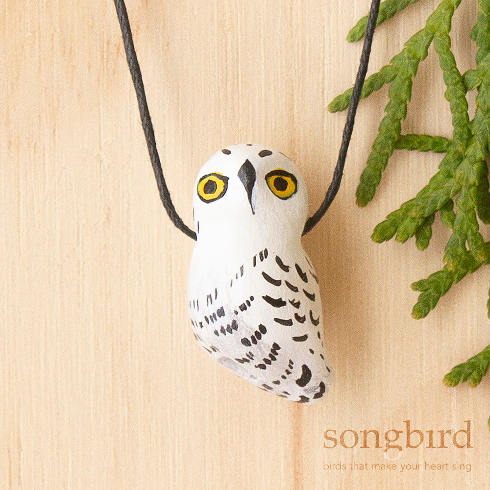 Snowy Owl Whistle Necklace