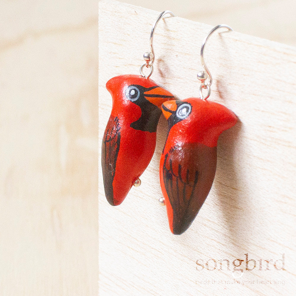 Northern Cardinal Earrings, Jewellery & Gifts for Bird Lovers, Songbird Collection America