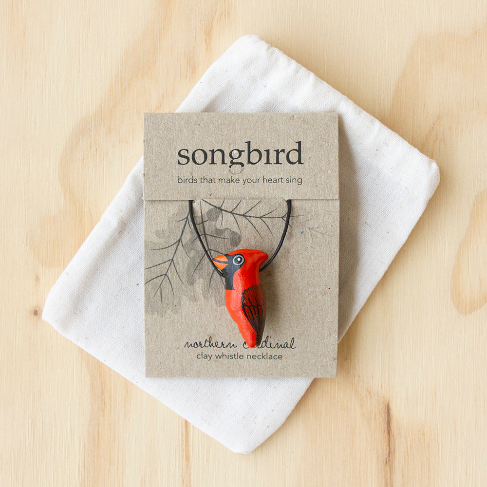 Northern Cardinal Whistle Necklace, Jewellery & Gifts for Bird Lovers, Songbird Collection America