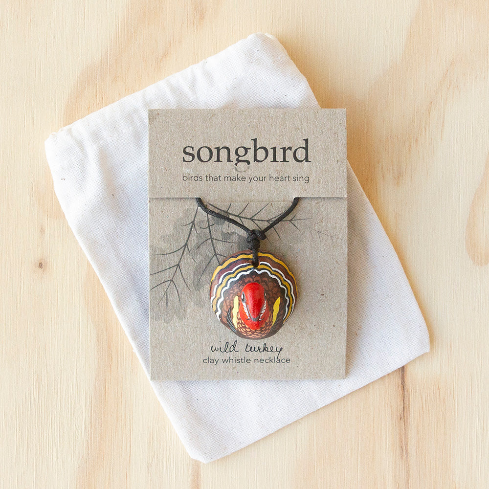 Wild Turkey Whistle Necklace, Gifts & Jewellery for Bird Lovers, Songbird Collection America