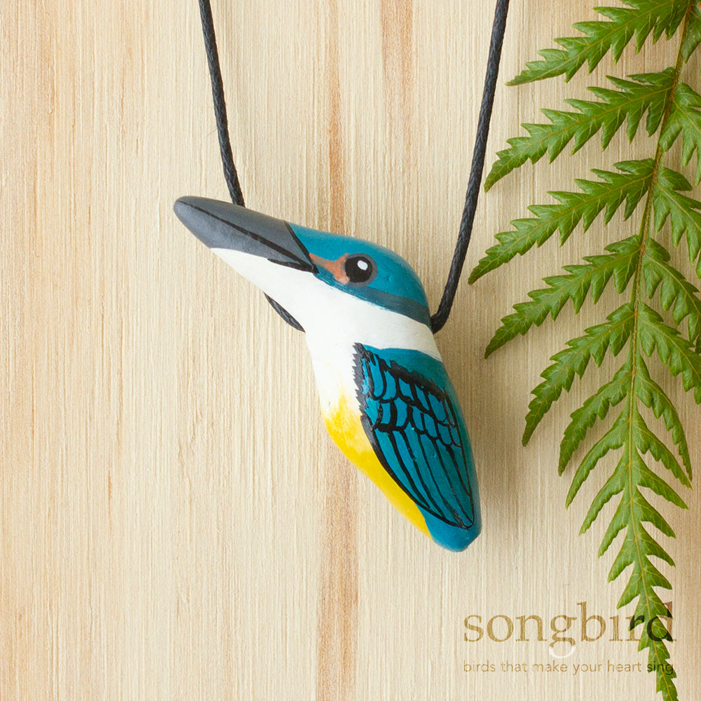Kotare Whistle Necklace, Sacred Kingfisher, Jewellery & Gifts for bird lovers, Songbird Collection Global, New Zealand