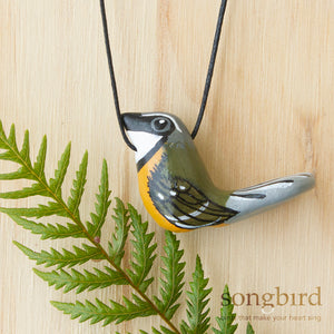 Piwakawaka Whistle Necklace, New Zealand Fantail, Jewellery & Gifts for Bird Lovers, Songbird Collection Global
