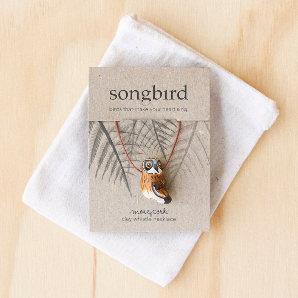 Morepork Whistle Necklace, Jewellery & Gifts for Bird Lovers, Songbird Collection New Zealand