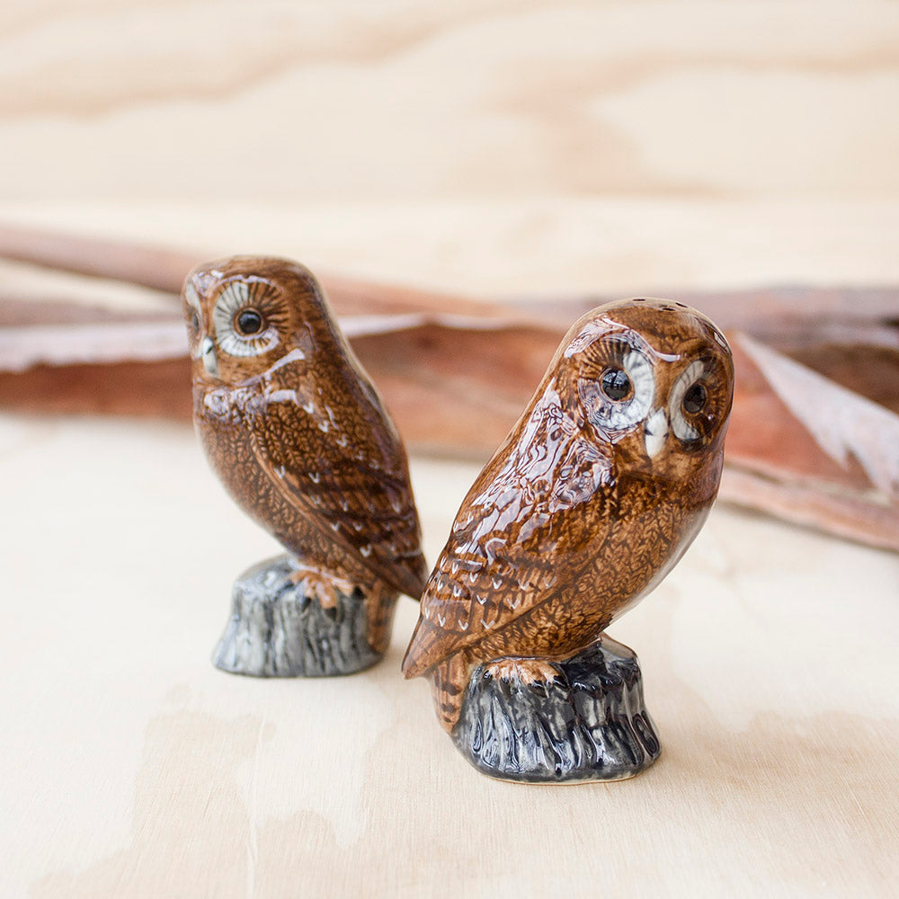 Tawny Owl Salt & Pepper by Quail Ceramics UK, Songbird Collection Australia, Kitchen, Dining, Gifts, Birds