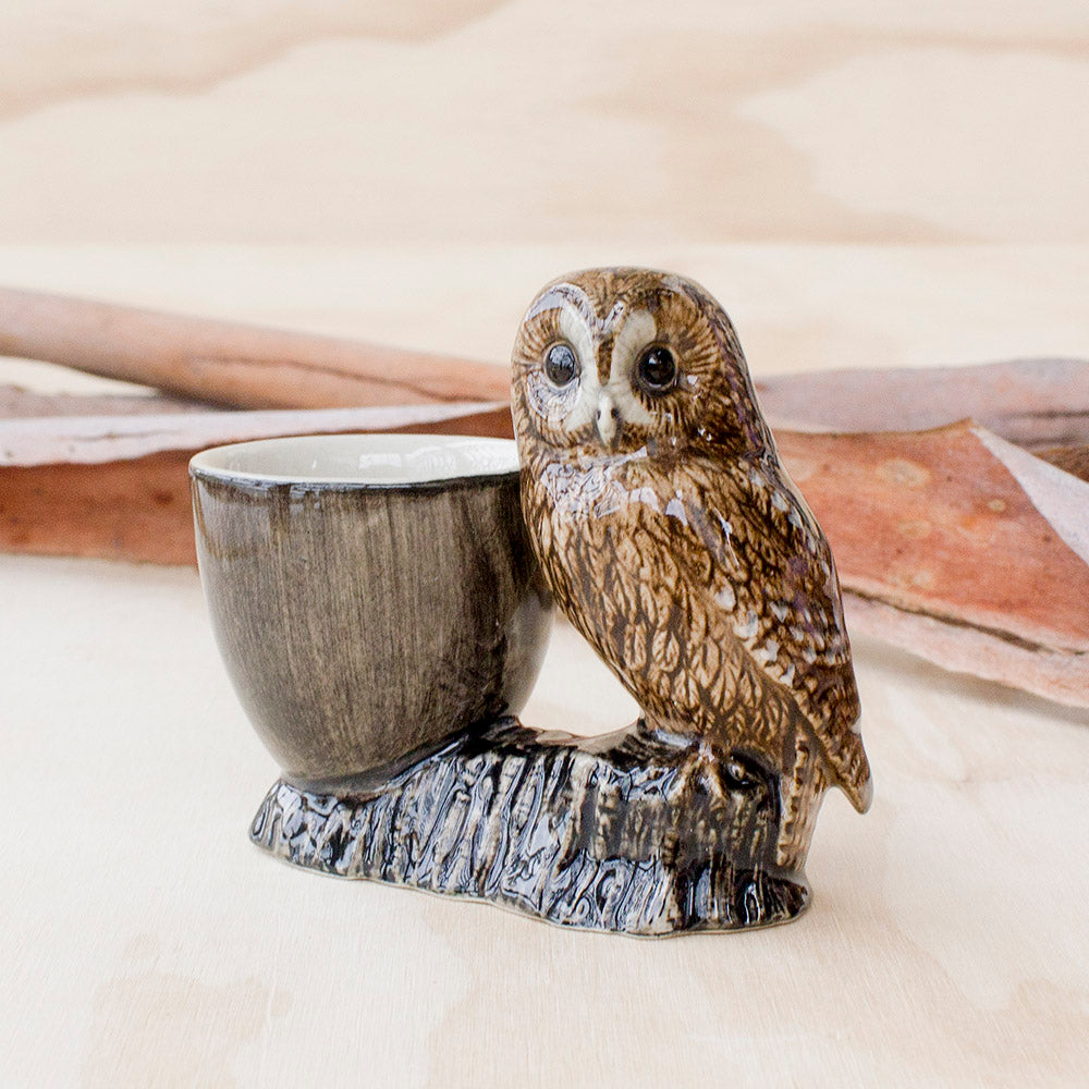 Tawny Owl Egg Cup by Quail Ceramics UK, Songbird Collection Australia, Kitchen, Dining, Gifts, Birds
