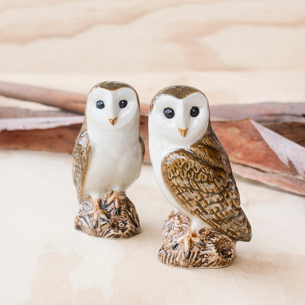 Barn Owl Salt & Pepper by Quail Ceramics UK, Songbird Collection, Kitchen, Dining, Gifts, Birds