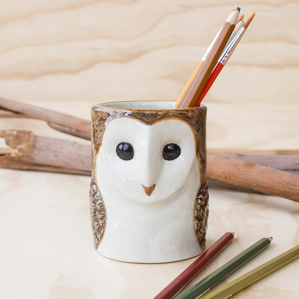 Barn Owl Pencil Pot by Quail Ceramics UK, Songbird Collection, Stationery, Office, Desk, Gifts, Birds