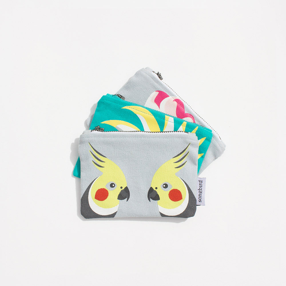 Cockatoo Family Organic Cotton Coin Purse, Gifts & Jewellery for Bird Lovers, Songbird Collection Australia
