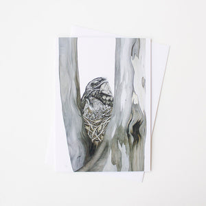Tawny Frogmouth Art Card by Vanessa Richardson, Tasmania, Jewellery and Gifts for Bird Lovers, Songbird Collection Australia