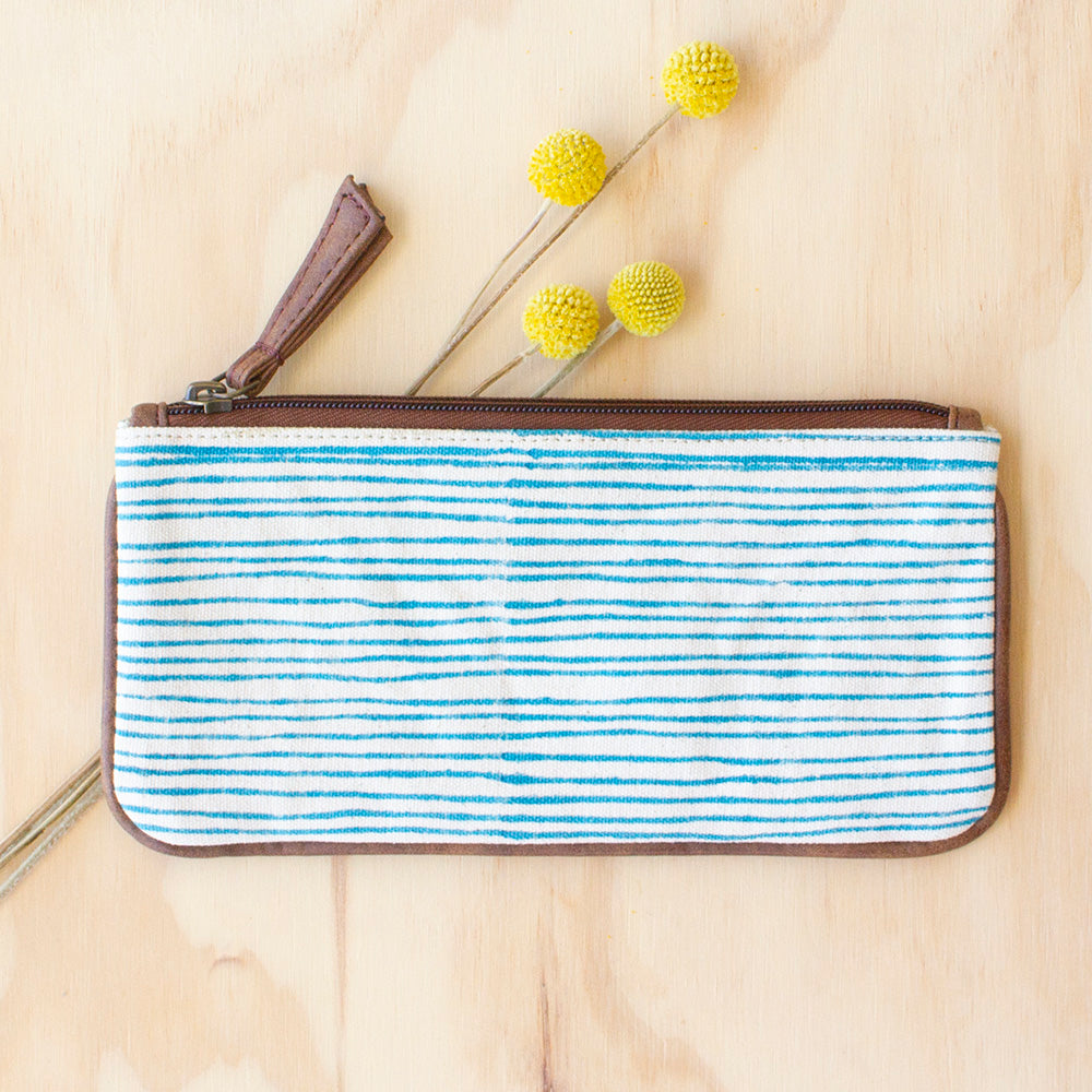 Blue Stripe Long Purse by JOYN, Jewellery & Gifts for Bird Lovers, Songbird Collection