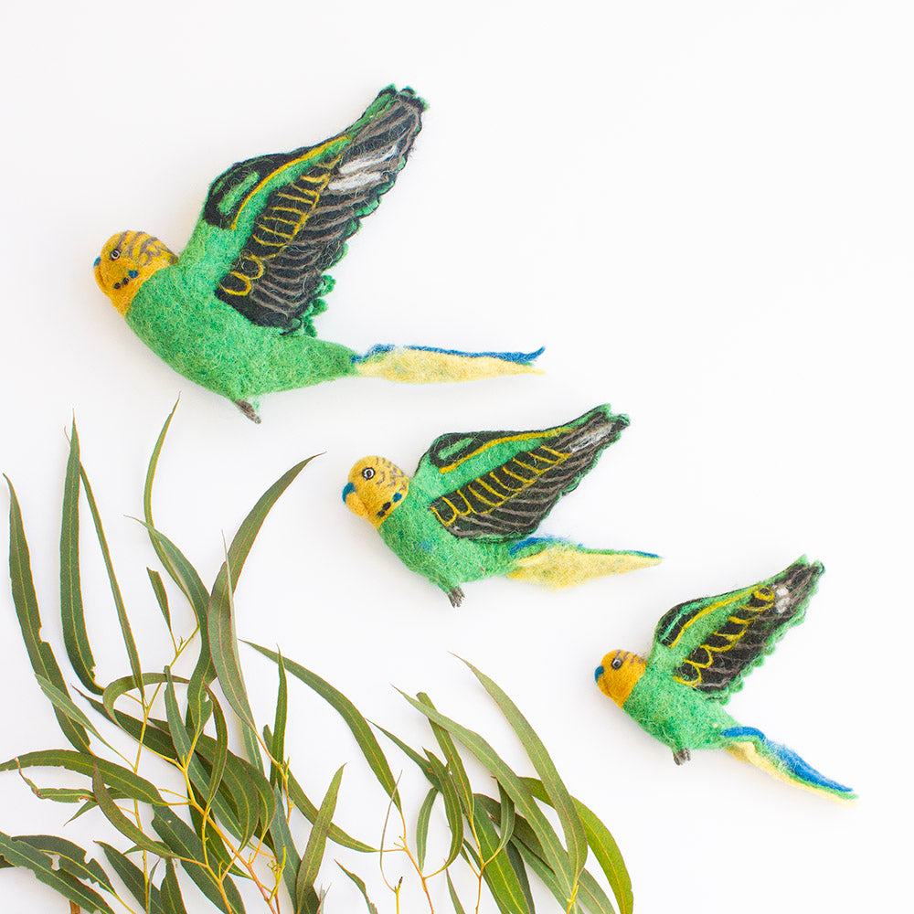Flying Budgie Trio, Green, by Sew Heart Felt UK, Gifts & Jewellery for Bird lovers, Songbird Collection Australia