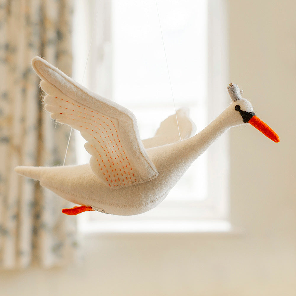 Odette Swan Mobile by Sew Heart Felt, Unique Jewellery & Gifts for Bird Lovers, Songbird Collection Australia