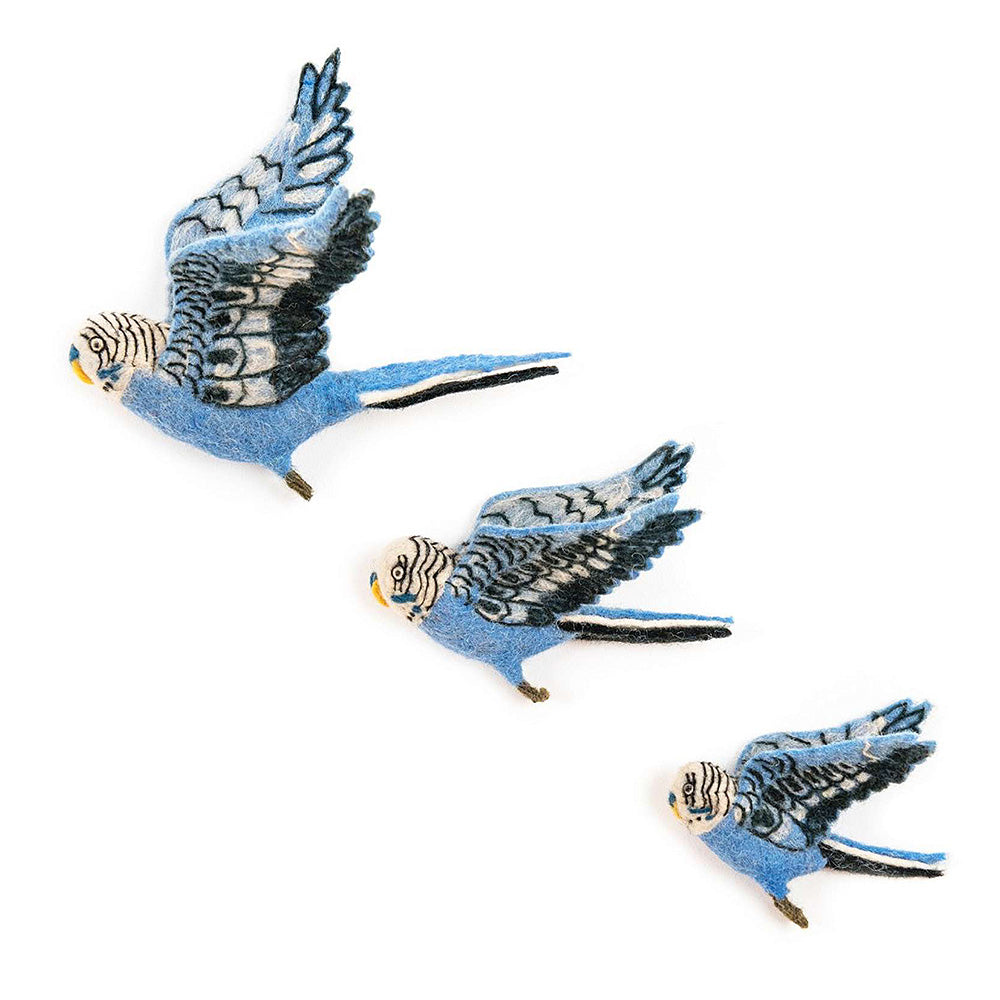 Flying Budgie Trio - Blue