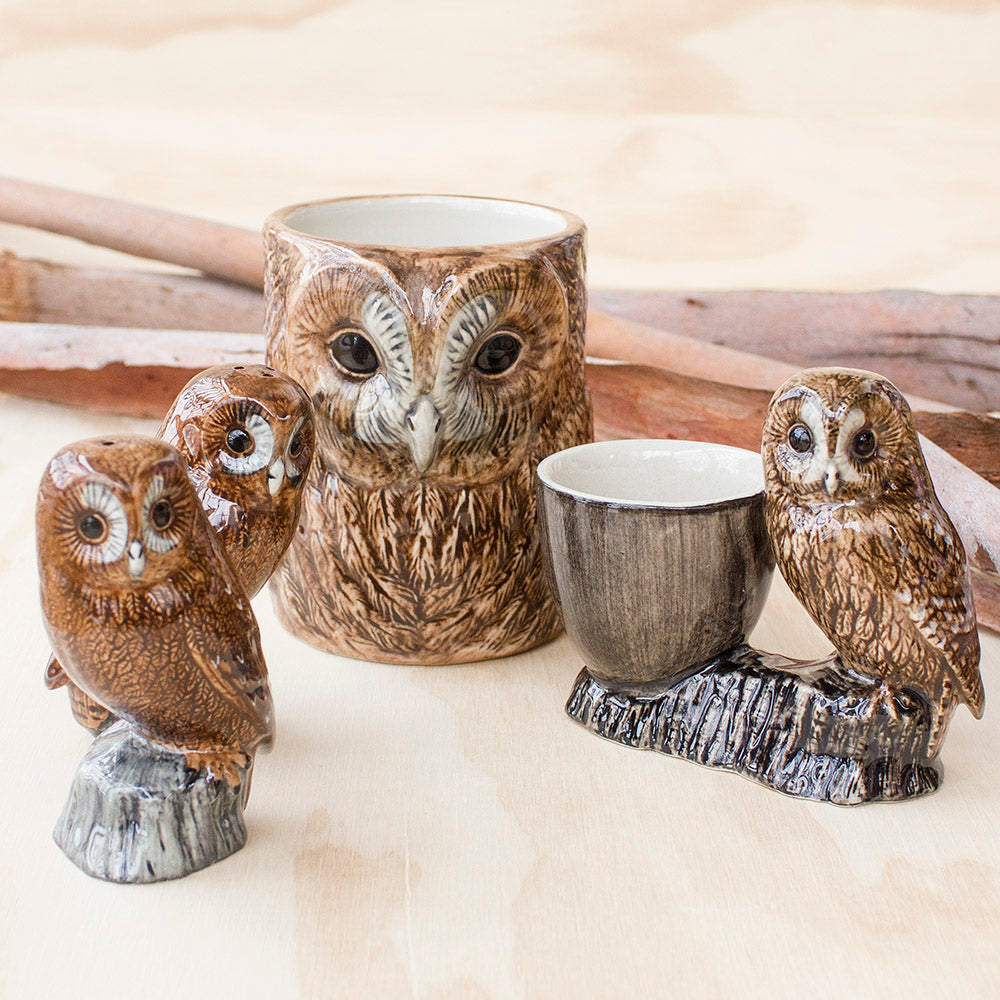 Tawny Owl Egg Cup, Pencil Pot, Salt and Pepper, by Quail Ceramics UK, Songbird Collection Australia, Gifts, Birds