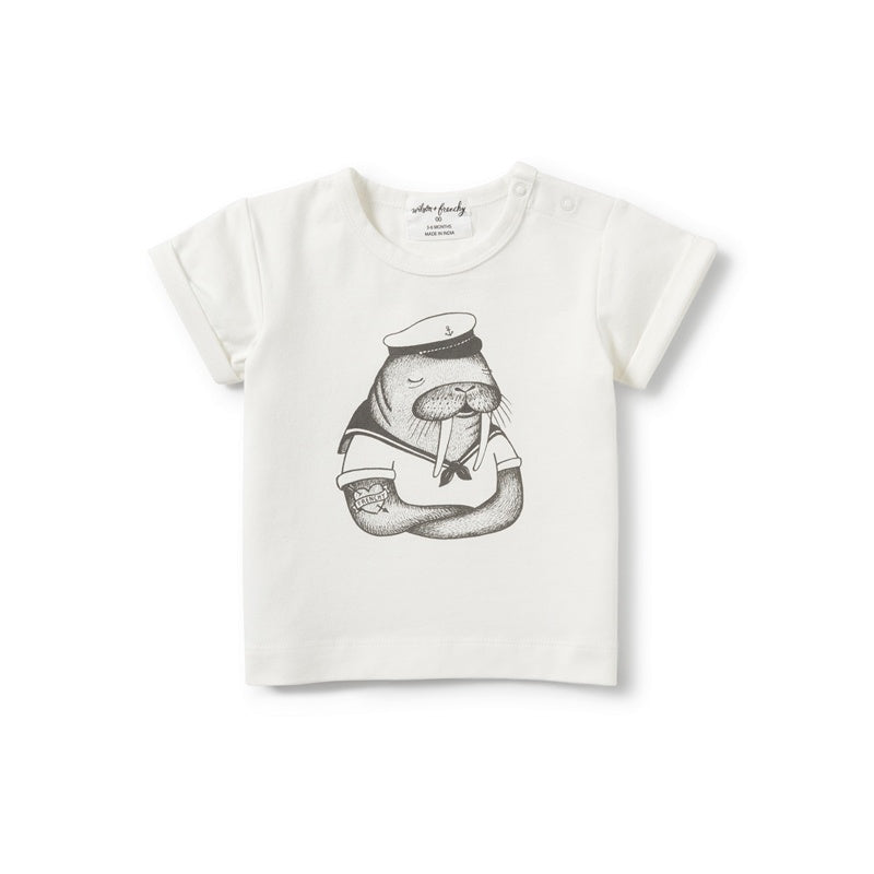 Wilson and Frenchy Cuffed Tee - Walrus