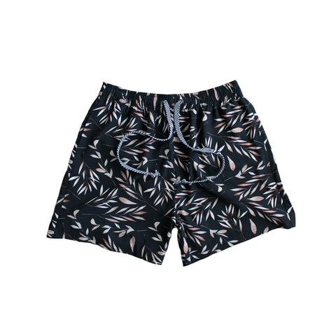 Duke of London Mens Black Leaf Print Boardies