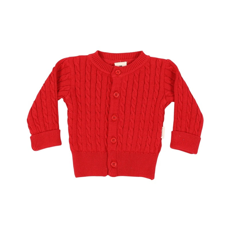 Korango Mr Fox Cable Knit Cardigan - Red