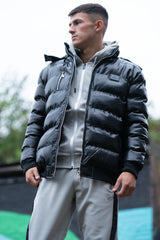 BUTE black buffer jacket with faux fur hooded collar
