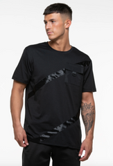 Black tee with black striped detailing and pocket