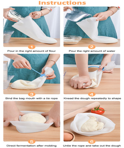 silicone bag for kneading dough instruction