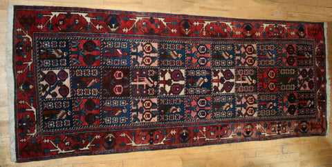 Persian Bakhtiari Hand-knotted Runner Wool on Cotton (ID 1310)