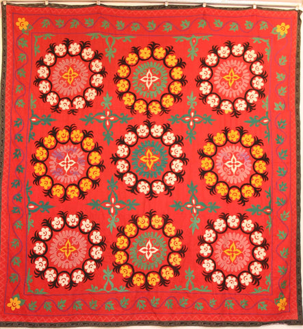 Uzbek Samarkhand Hand-knotted Hand Embroidered Cotton on Cotton (ID 1071)