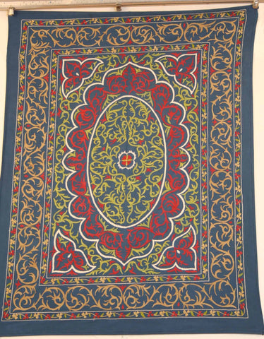 Uzbek Samarkhand Hand-knotted Hand Embroidered Silk on Silk (ID 1077)