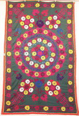 Uzbek Samarkhand Hand-knotted Hand Embroidered Cotton on Cotton (ID 1074)