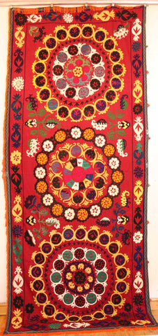 Uzbek Samarkhand Hand-knotted Hand Embroidered Cotton on Cotton (ID 1068)