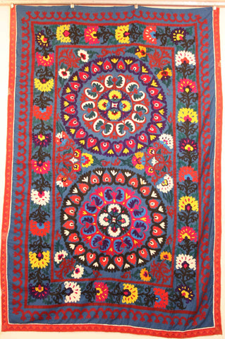 Uzbek Samarkhand Hand-knotted Hand Embroidered Cotton on Cotton (ID 1069)