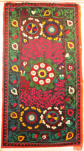 Uzbek Samarkhand Hand-knotted Hand Embroidered Cotton on Cotton (ID 1073)