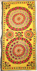 Uzbek Samarkhand Hand-knotted Hand Embroidered Cotton on Cotton (ID 1075)