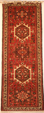 Persian Heriz Hand-knotted Runner Wool on Cotton (ID 1058)