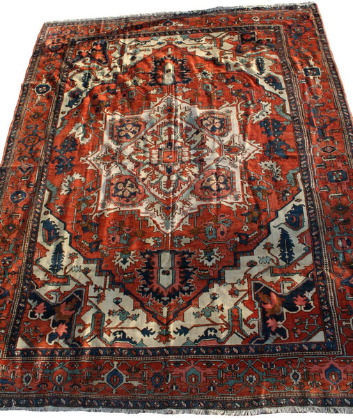 Persian Heriz Hand-knotted Rug Wool On Cotton (ID 1212