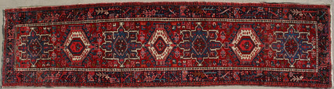 Persian Heriz Hand-knotted Runner Wool on Cotton (ID 1124)