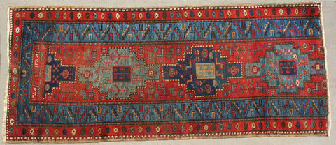 Persian Heriz Hand-knotted Runner Wool on Cotton (ID 1123)