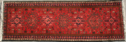 Persian Heriz Hand-knotted Runner Wool on Cotton (ID 84)