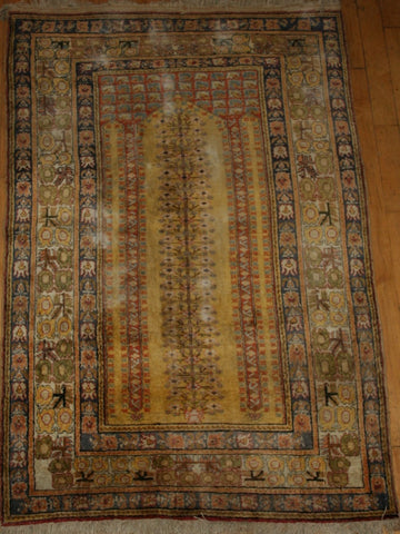 Indian Kayseri Hand-knotted Rug Silk on Cotton (ID 1088)
