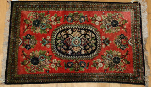 Indian Kashmir Hand-knotted Rug Silk on silk (ID 1148)